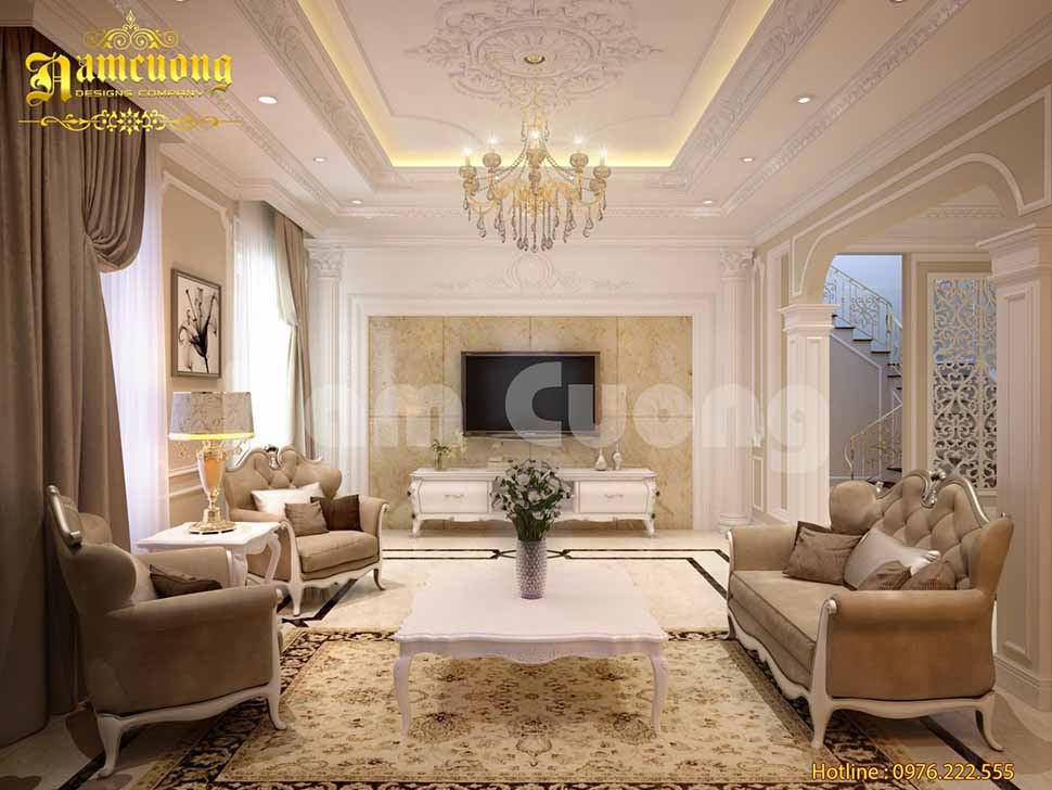 Phối cảnh nội thất phòng khách trong biệt thự