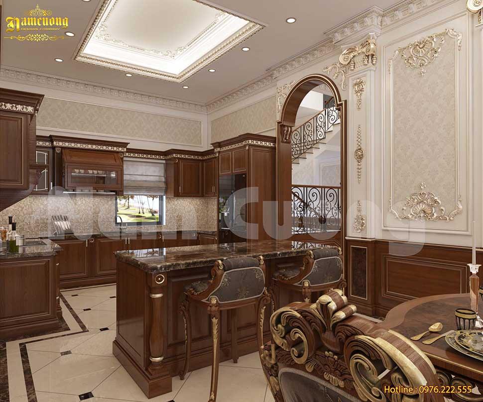 thiết kế phòng bếp biệt thự 200m2