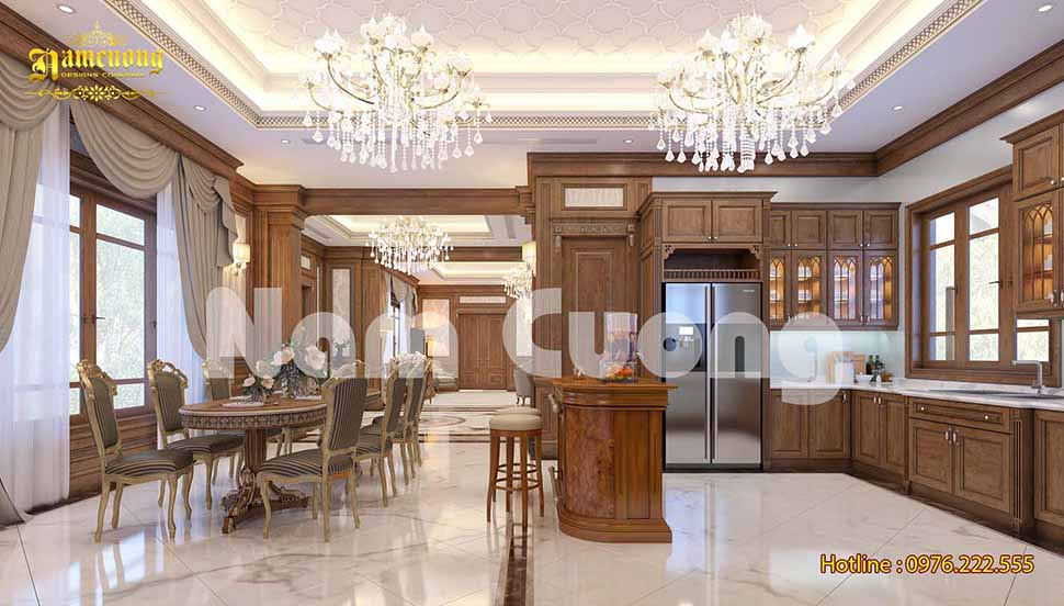 Nội thất phòng bếp trong biệt thự rộng 300m2