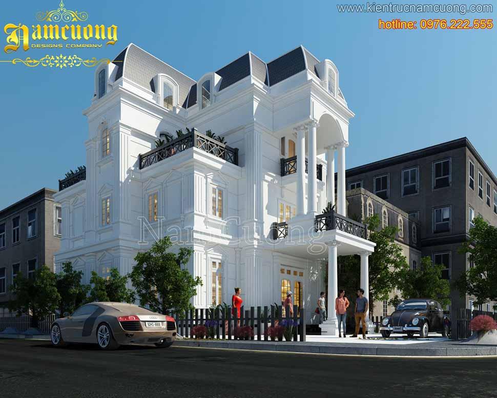 mẫu thiết kế biệt thự cổ điển trắng