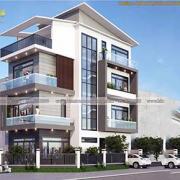 Mẫu thiết kế biệt thự mini 120m2 hiện đại 4 tầng mặt phố