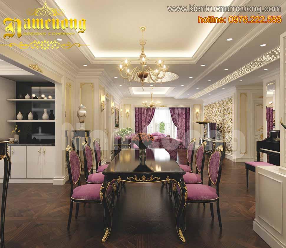 nội thất phòng ăn kiến trúc Pháp