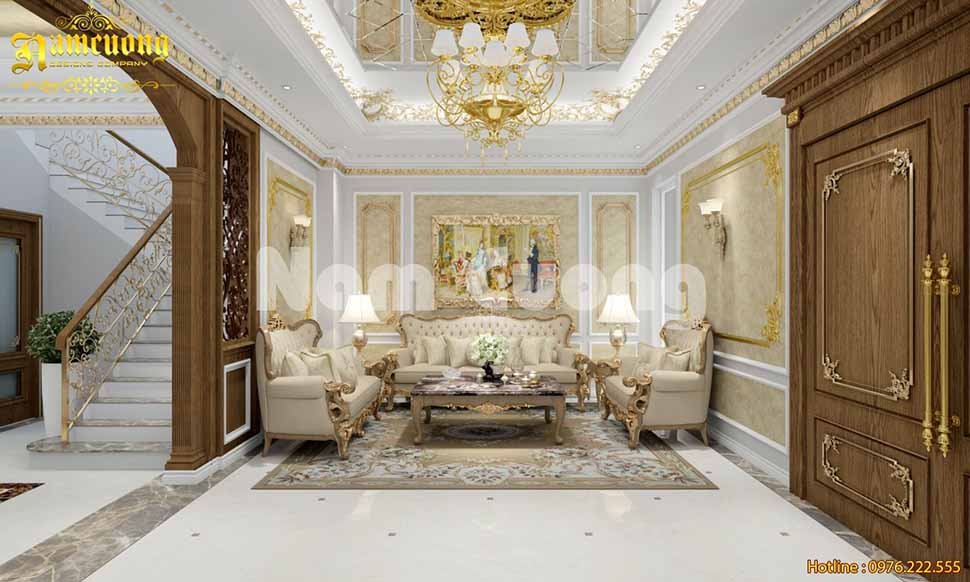 view phòng khách tân cổ điển