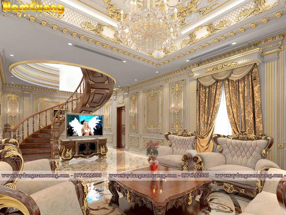 Nội thất phòng khách trong căn biệt thự Pháp