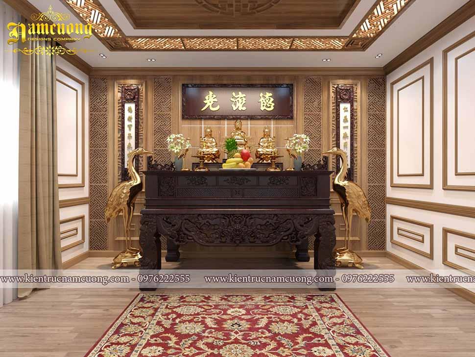 Nội thất phòng thờ trong căn nhà 3 tầng 120m2