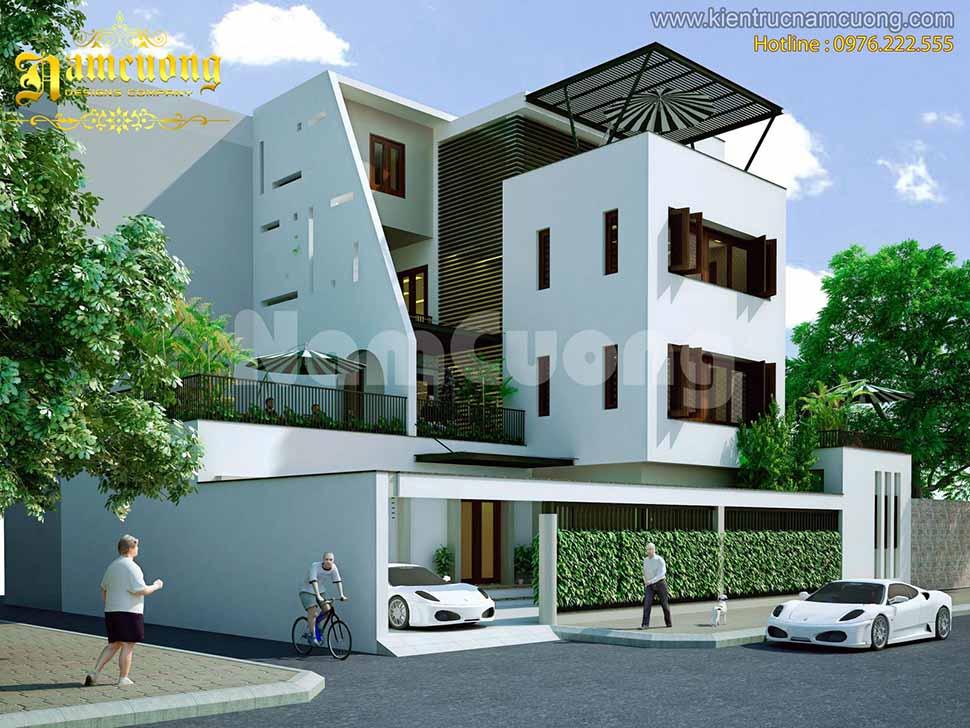 Phối cảnh nhà đẹp hiện đại 3 tầng