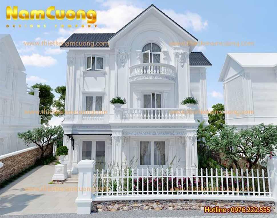 Nhà 3 tầng màu trắng