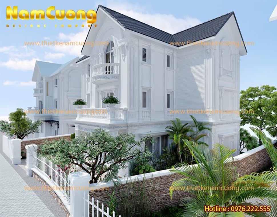 Mẫu biệt thự trắng 3 tầng