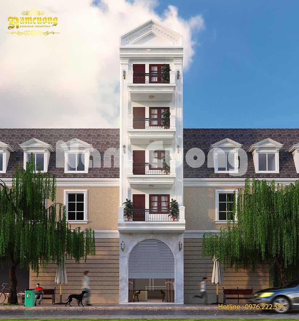 mẫu nhà phố 5 tầng tân cổ điển