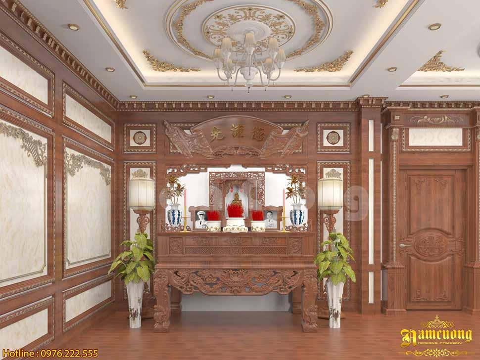 Thiết kế nội thất phòng thờ tân cổ điển tại Thái Bình
