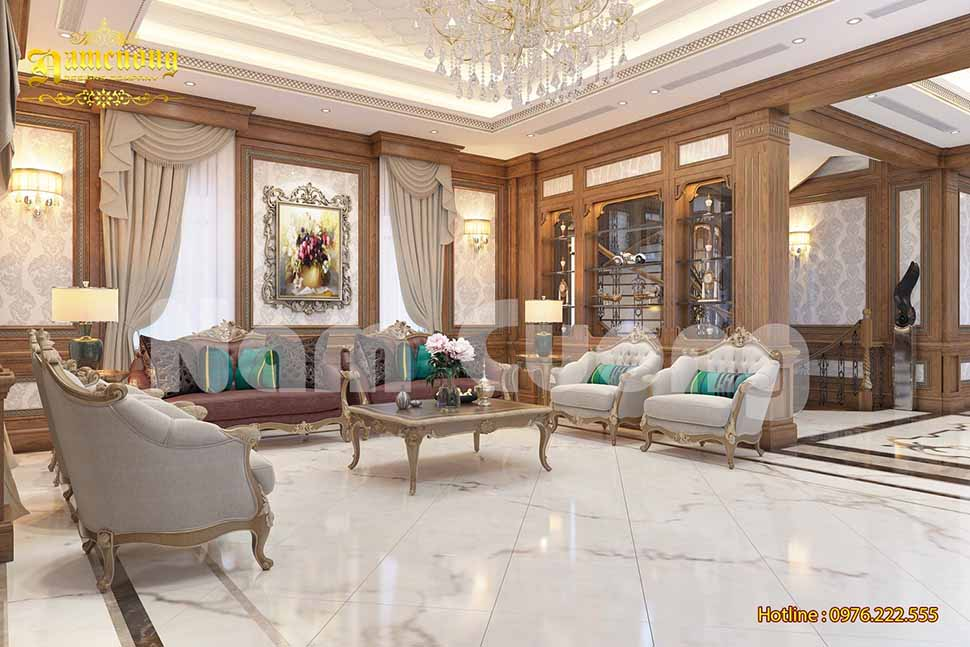 Nội thất phòng khách trong biệt thự cổ điển