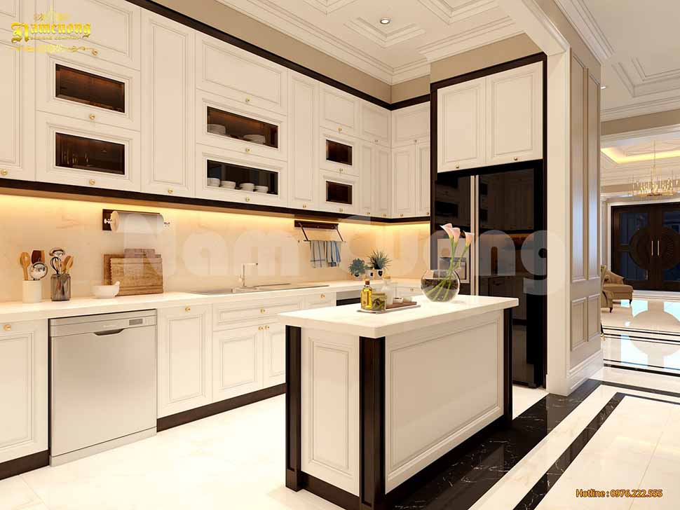 Nội thất phòng bếp ăn trong căn biệt thự vô cùng đẹp