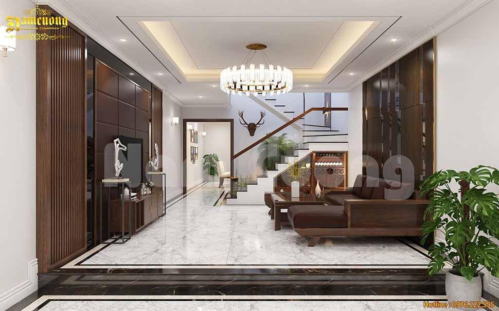 Thiết kế phòng khách nhà ống mặt tiền 4m hiện đại