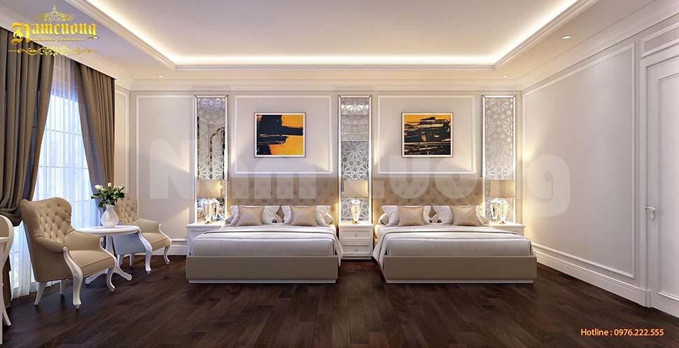 Không gian nội thất phòng ngủ khách sạn cực xinh xắn