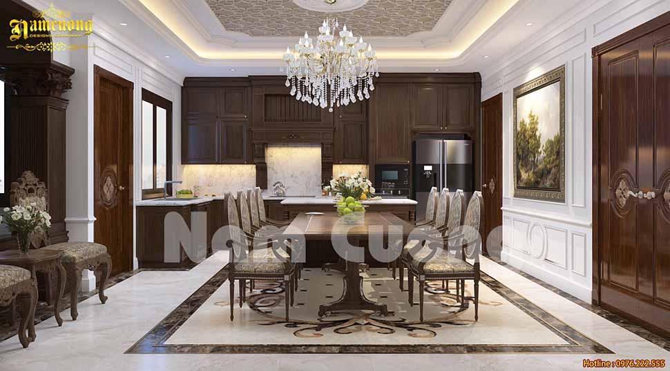 Không gian phòng bếp sang trọng trong thiết kế nhà 180m2