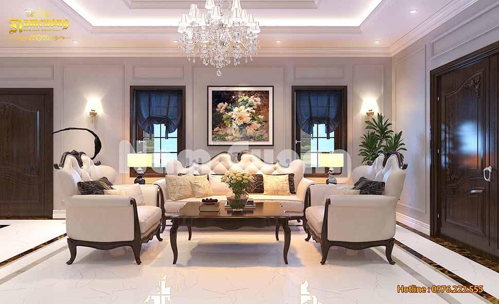 Phối cảnh nội thất phòng khách trong mẫu thiết kế nhà 500m2