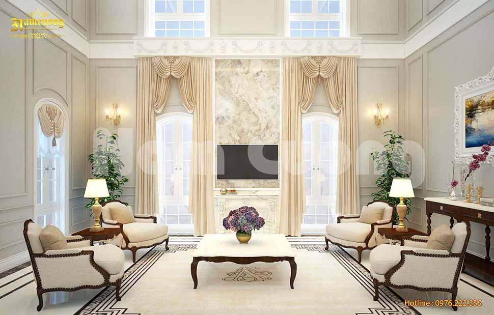 Thiết kế phòng khách 17m2 tân cổ điển HOT nhất 2020