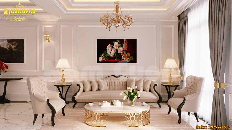 Thiết kế phòng khách 18m2 tân cổ điển đẹp hút chủ đầu tư