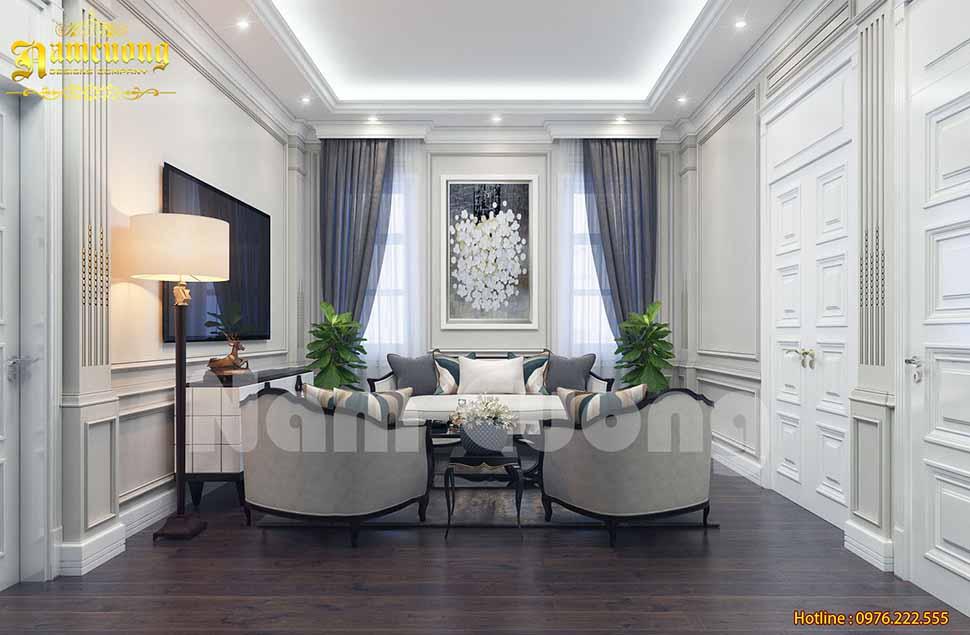 Thiết kế phòng khách 24m2 cho biệt thự tân cổ điển