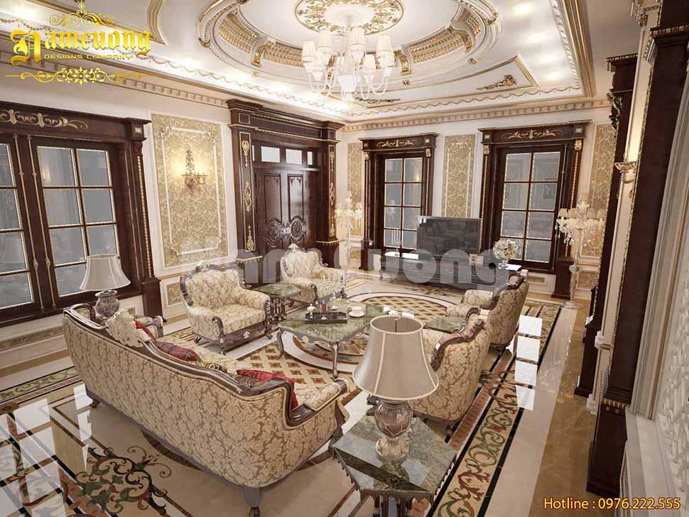 Thiết kế phòng khách 35m2 biệt thự cao cấp hút chủ đầu tư