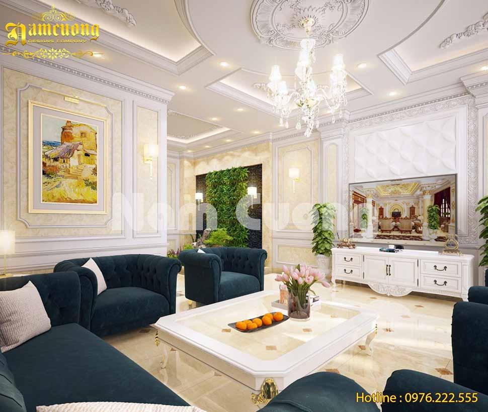 Thiết kế phòng khách biệt thự tân cổ điển tại Bắc Ninh
