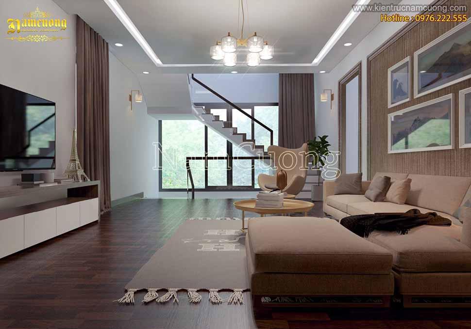 Thiết kế phòng khách biệt thự hiện đại đơn giản đẹp mê hồn