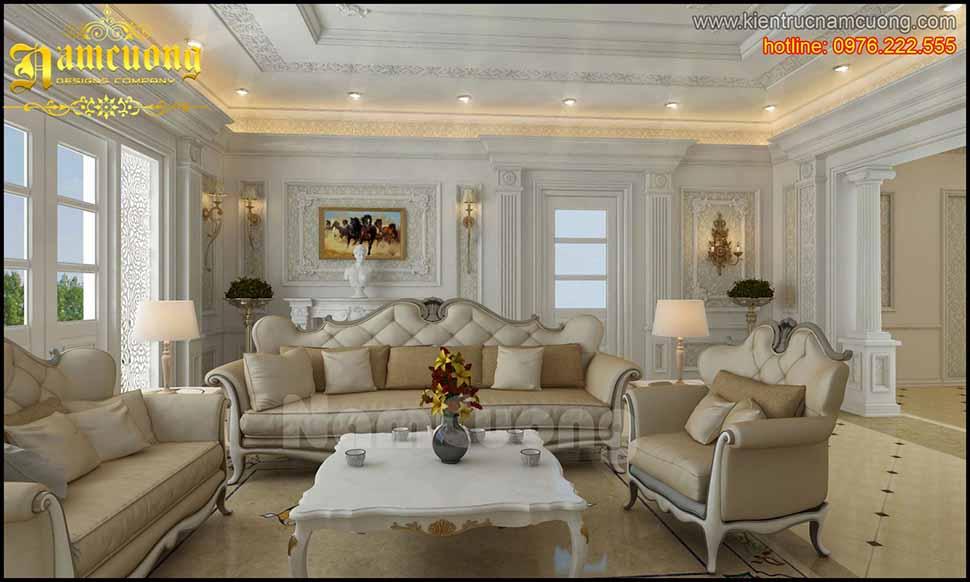phòng khách theo phong cách tân cổ điển