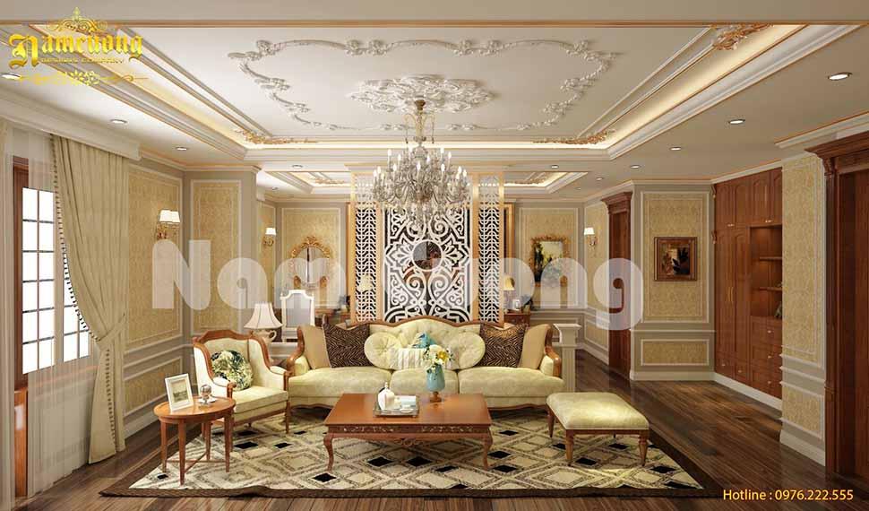 Thiết kế phòng khách kiểu châu âu cho biệt thự