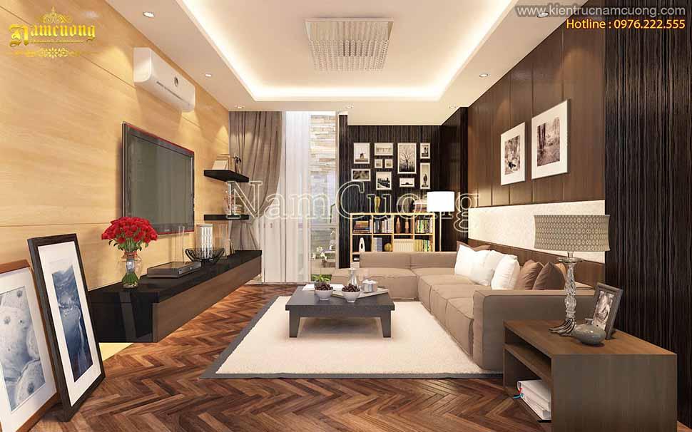 Thiết kế phòng khách nhà ống 5m hợp phòng thủy