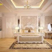Thiết kế phòng ngủ có bàn trang điểm tân cổ điển